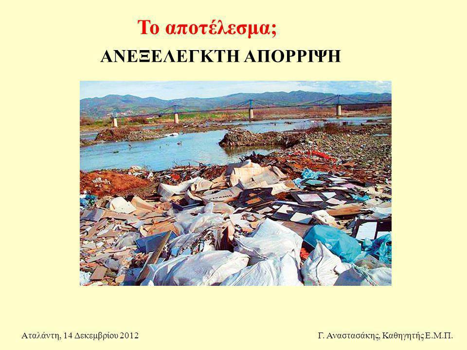 Το αποτέλεσμα; ΑΝΕΞΕΛΕΓΚΤΗ ΑΠΟΡΡΙΨΗ Αταλάντη, 14 Δεκεμβρίου 2012