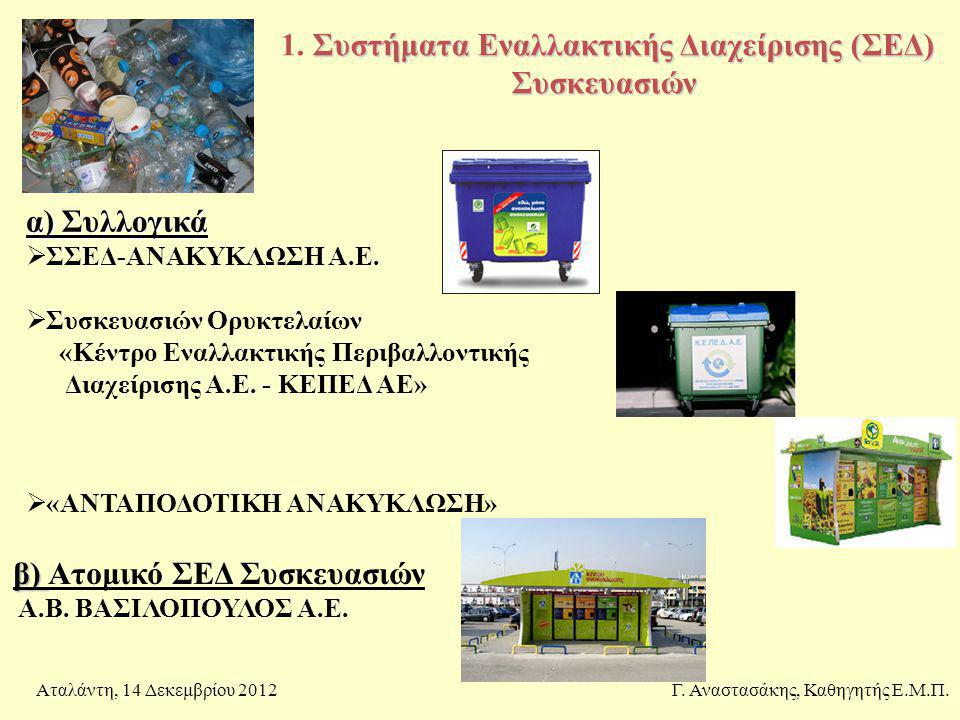 1. Συστήματα Εναλλακτικής Διαχείρισης (ΣΕΔ) Συσκευασιών