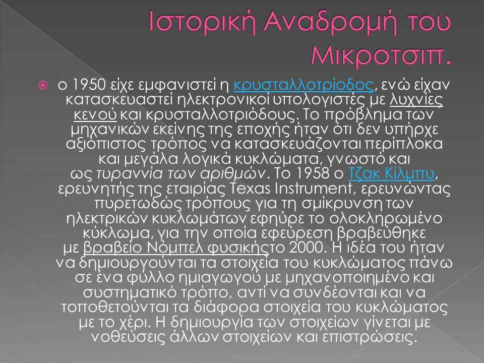 Ιστορική Αναδρομή του Μικροτσιπ.