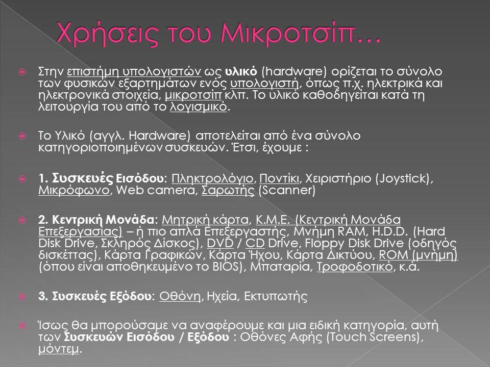 Χρήσεις του Μικροτσίπ…