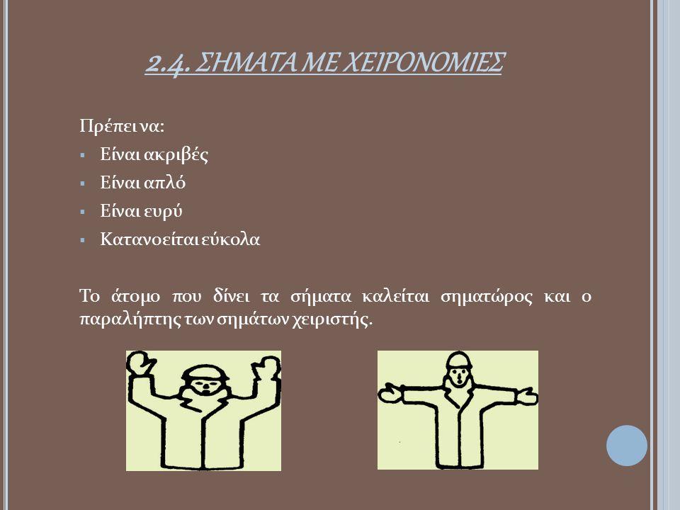2.4. σηματα με χειρονομιεσ Πρέπει να: Είναι ακριβές Είναι απλό