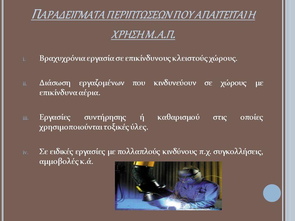 Παραδειγματα περιπτωσεων που απαιτειται η χρηση μ.α.π.