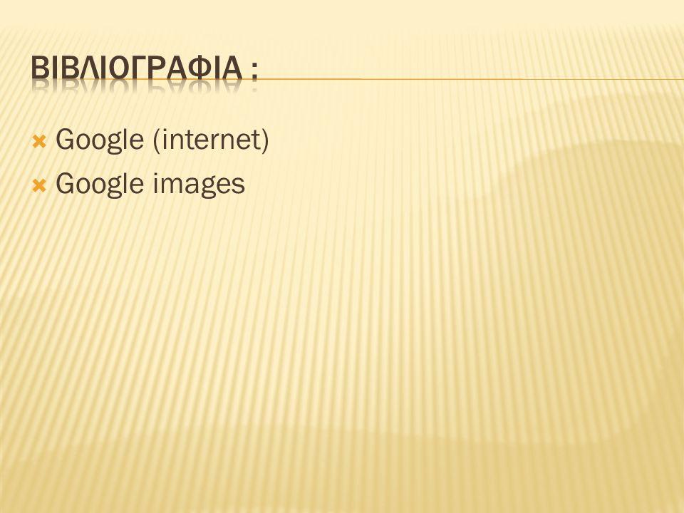 Βιβλιογραφια : Google (internet) Google images
