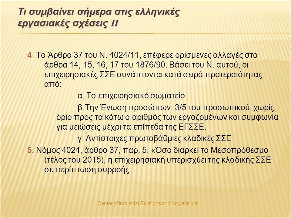 Τι συμβαίνει σήμερα στις ελληνικές εργασιακές σχέσεις ΙΙ