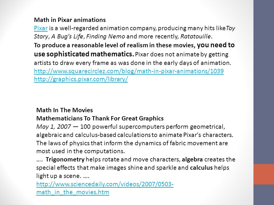 Math in Pixar animations