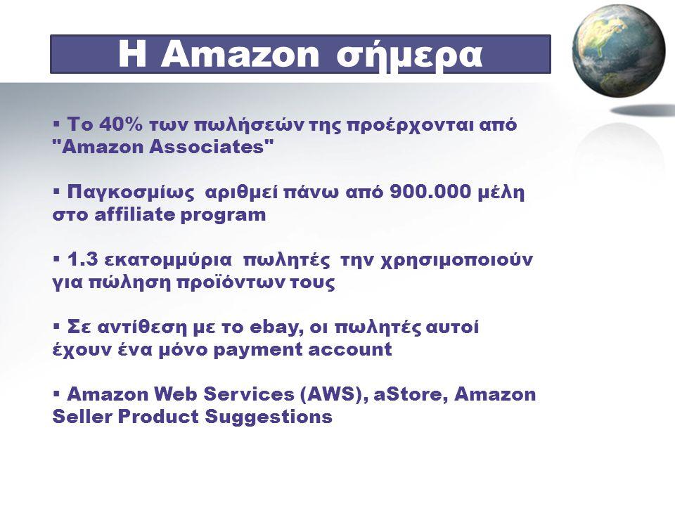 Η Amazon σήμερα Το 40% των πωλήσεών της προέρχονται από Amazon Associates Παγκοσμίως αριθμεί πάνω από 900.000 μέλη στο affiliate program.