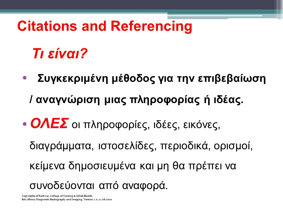 Citations and Referencing