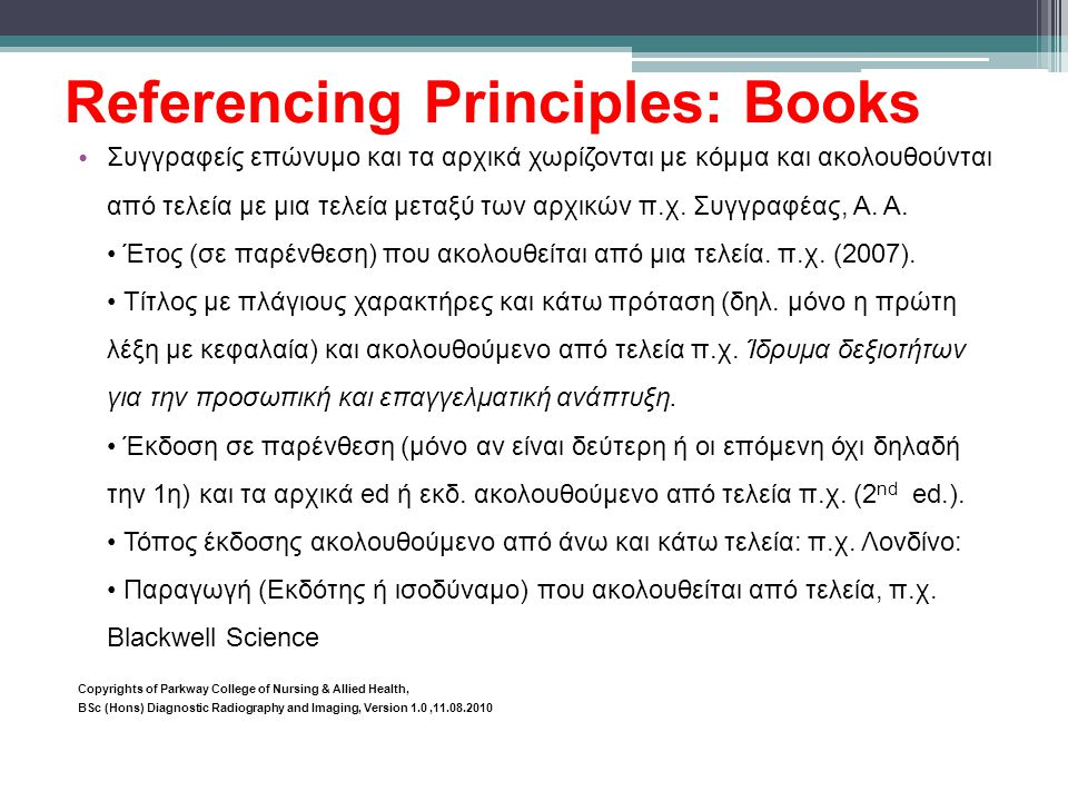 Referencing Principles: Books