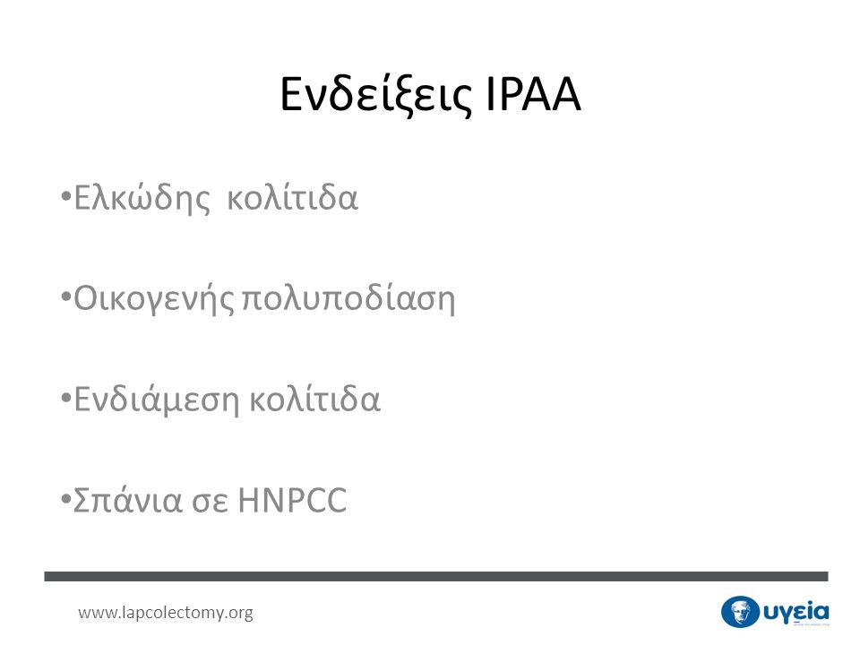 Ενδείξεις IPAA Ελκώδης κολίτιδα Οικογενής πολυποδίαση