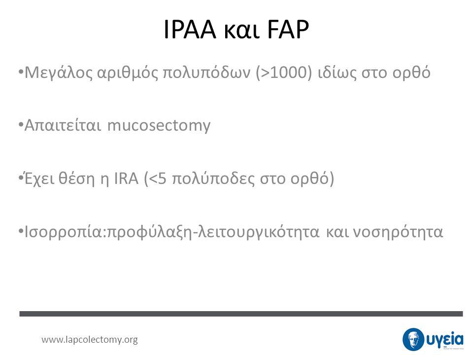 IPAA και FAP Μεγάλος αριθμός πολυπόδων (>1000) ιδίως στο ορθό