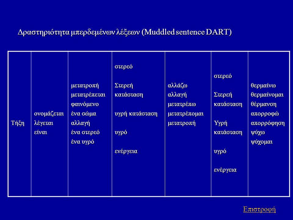 Δραστηριότητα μπερδεμένων λέξεων (Muddled sentence DART)