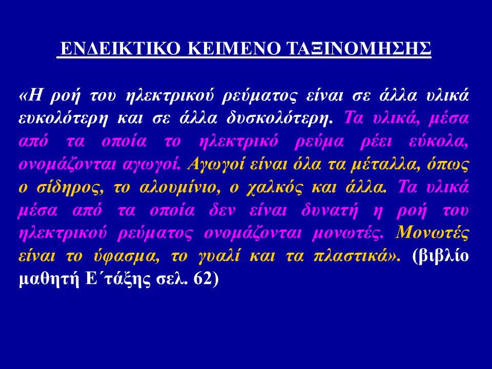 ΕΝΔΕΙΚΤΙΚΟ ΚΕΙΜΕΝΟ ΤΑΞΙΝΟΜΗΣΗΣ