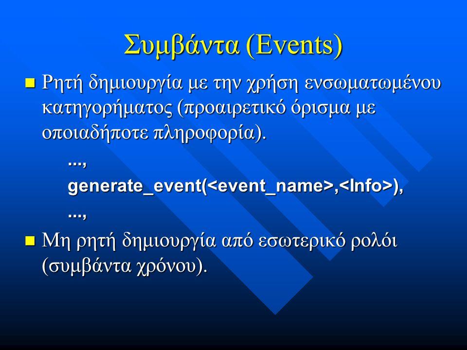 Συμβάντα (Events) Ρητή δημιουργία με την χρήση ενσωματωμένου κατηγορήματος (προαιρετικό όρισμα με οποιαδήποτε πληροφορία).
