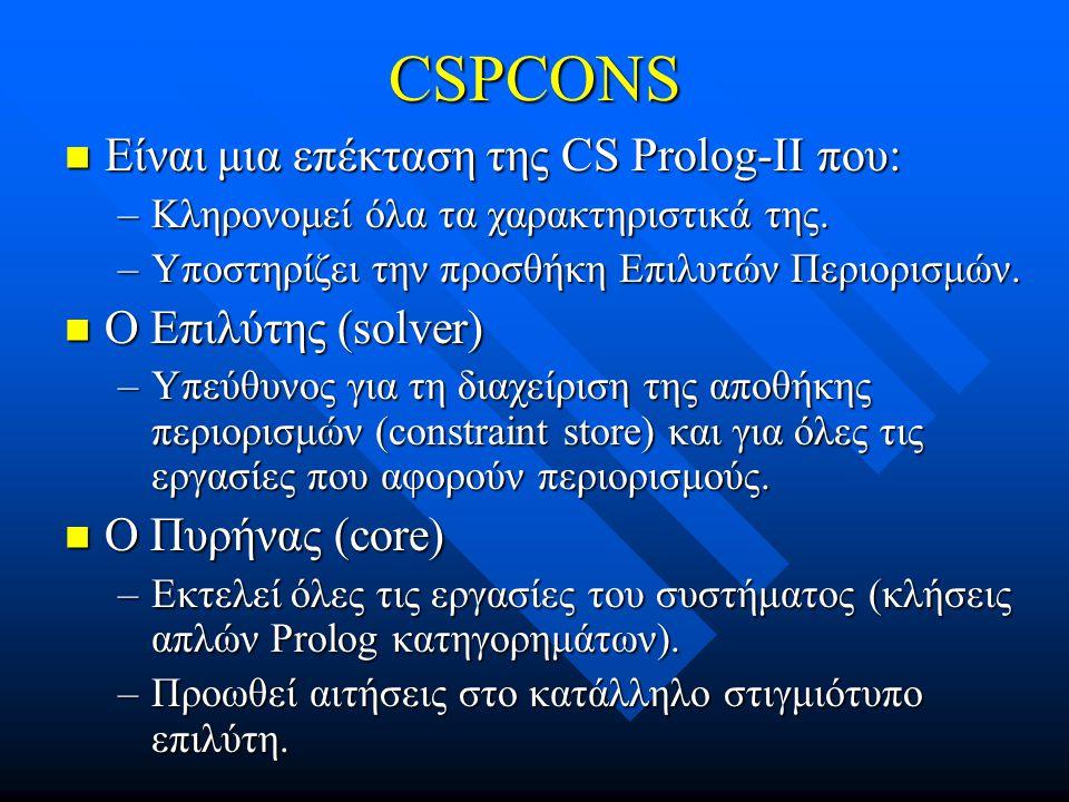 CSPCONS Είναι μια επέκταση της CS Prolog-II που: Ο Επιλύτης (solver)