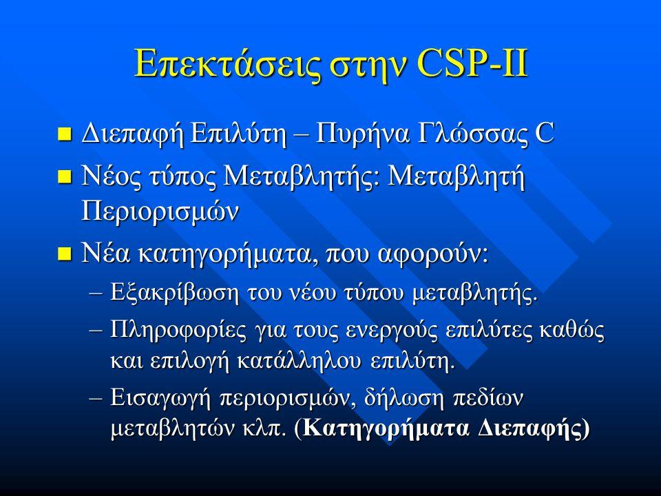 Επεκτάσεις στην CSP-II
