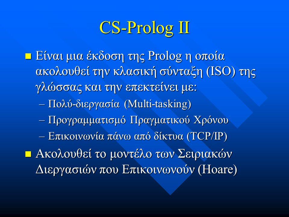CS-Prolog II Είναι μια έκδοση της Prolog η οποία ακολουθεί την κλασική σύνταξη (ISO) της γλώσσας και την επεκτείνει με: