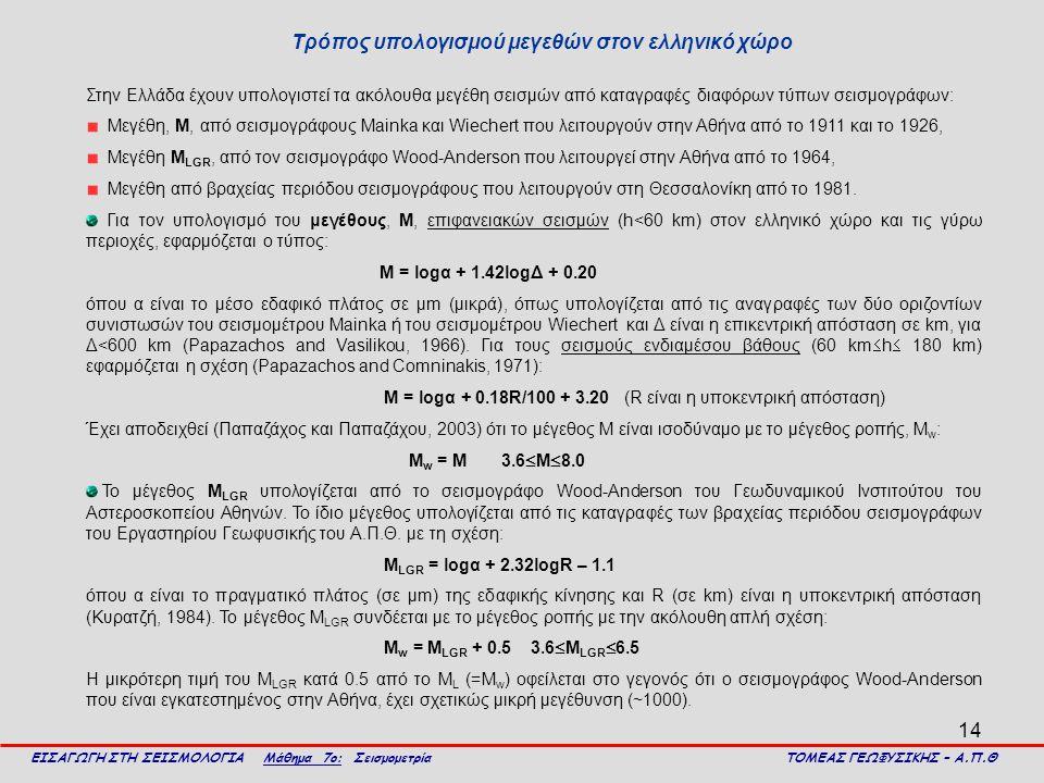 Τρόπος υπολογισμού μεγεθών στον ελληνικό χώρο