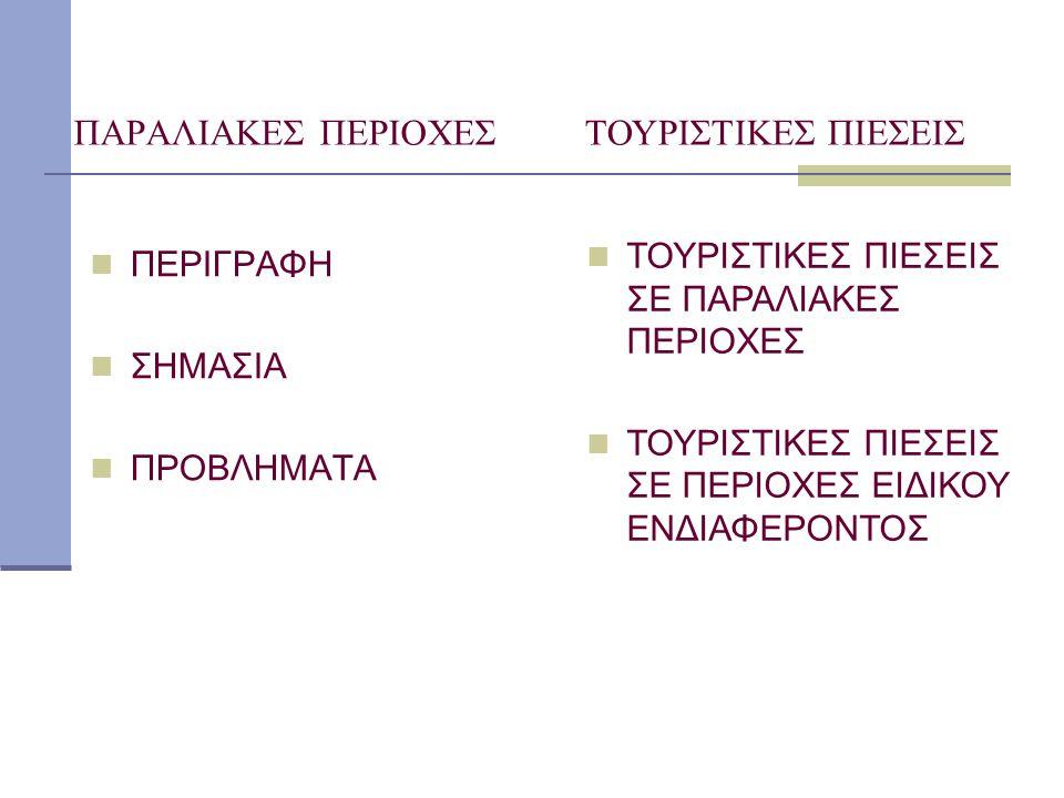 ΠΑΡΑΛΙΑΚΕΣ ΠΕΡΙΟΧΕΣ ΤΟΥΡΙΣΤΙΚΕΣ ΠΙΕΣΕΙΣ