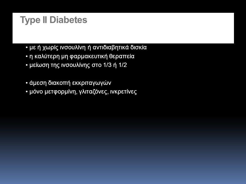 Type II Diabetes με ή χωρίς ινσουλίνη ή αντιδιαβητικά δισκία