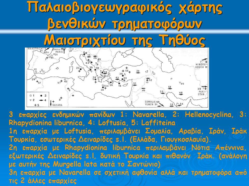 Παλαιοβιογεωγραφικός χάρτης βενθικών τρηματοφόρων Μαιστριχτίου της Τηθύος