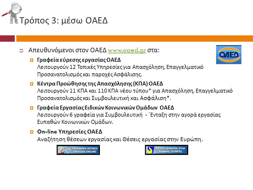Τρόπος 3: μέσω ΟΑΕΔ Απευθυνόμενοι στον ΟΑΕΔ www.oaed.gr στα: