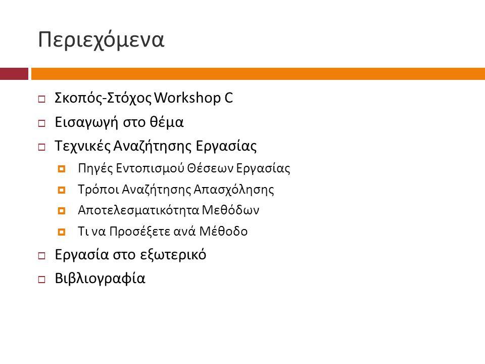 Περιεχόμενα Σκοπός-Στόχος Workshop C Εισαγωγή στο θέμα