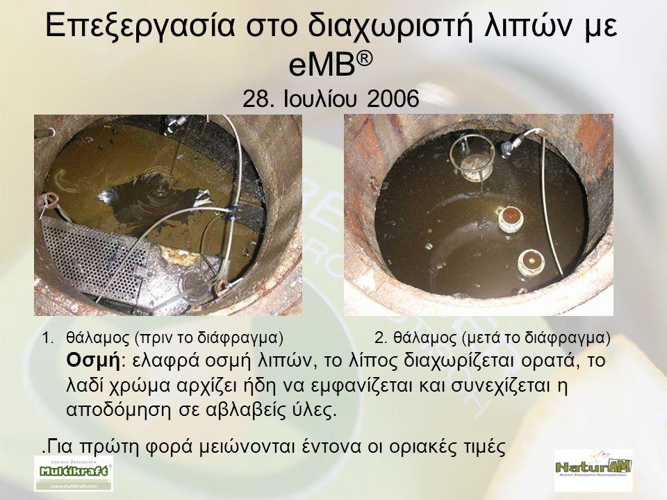 Επεξεργασία στο διαχωριστή λιπών με eMB® 28. Ιουλίου 2006