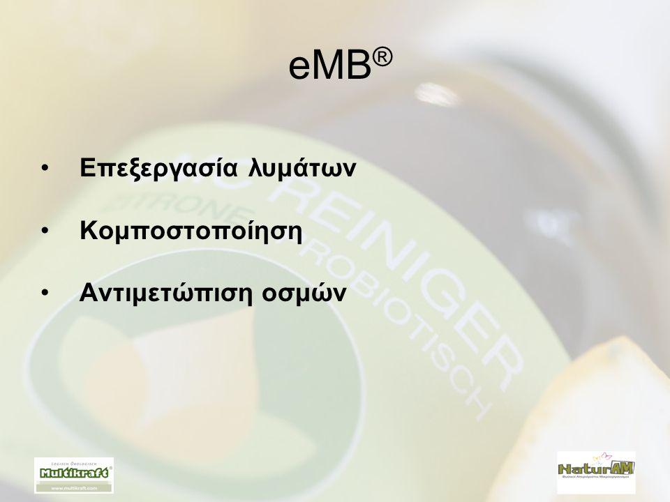 eMB® Επεξεργασία λυμάτων Κομποστοποίηση Αντιμετώπιση οσμών