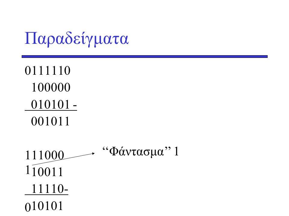 Παραδείγματα 0111110 100000 010101 - 001011 111000 10011 11110- 10101 1 ''Φάντασμα'' 1