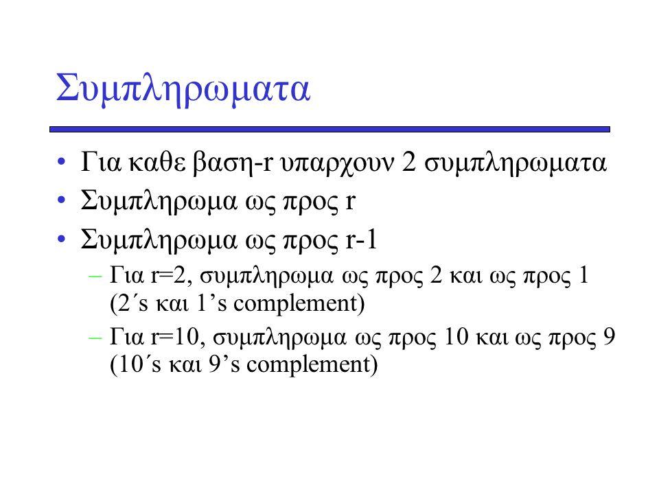 Συμπληρωματα Για καθε βαση-r υπαρχουν 2 συμπληρωματα