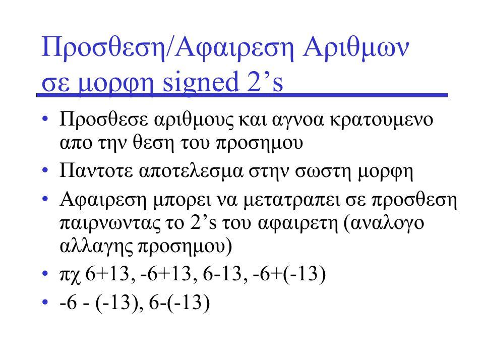 Προσθεση/Αφαιρεση Αριθμων σε μορφη signed 2's