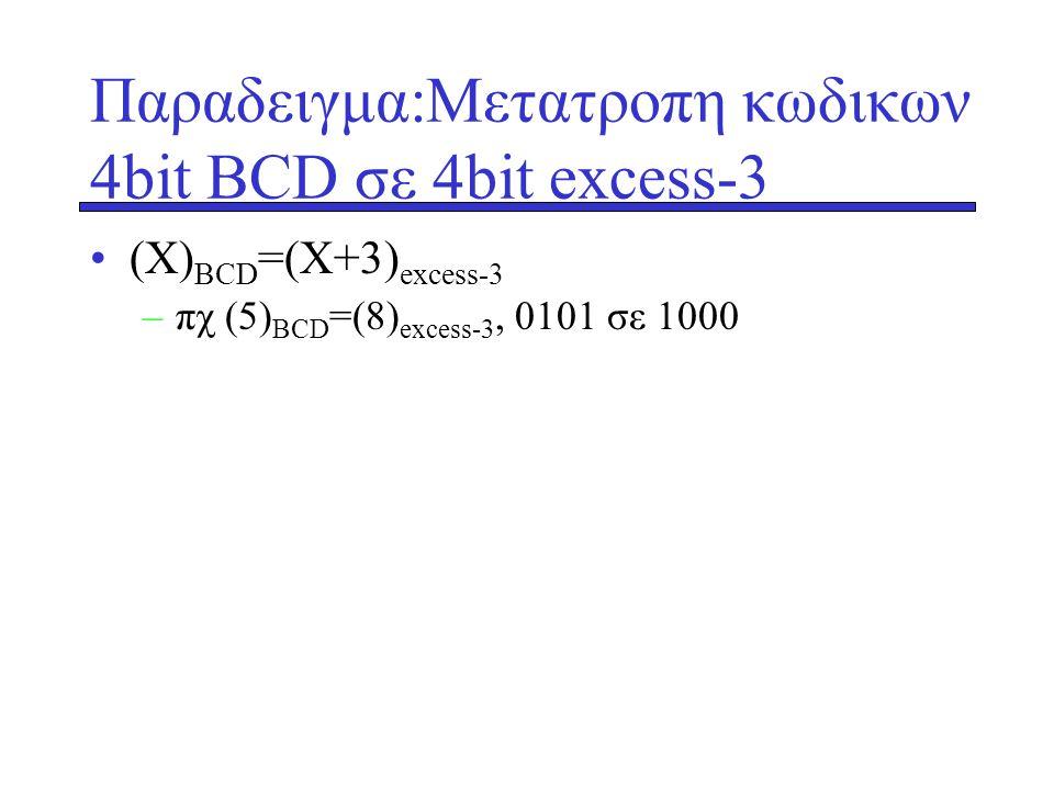 Παραδειγμα:Μετατροπη κωδικων 4bit ΒCD σε 4bit excess-3