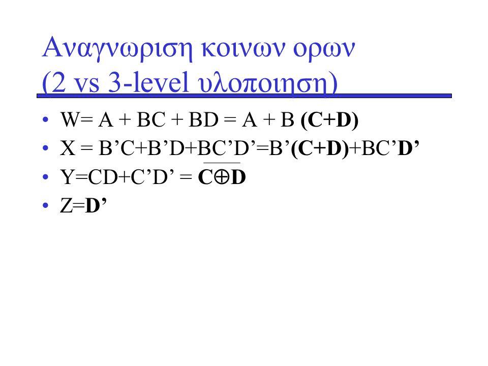 Αναγνωριση κοινων ορων (2 vs 3-level υλοποιηση)