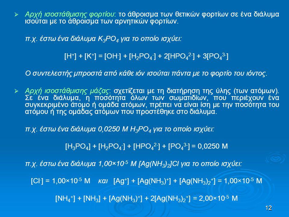 π.χ. έστω ένα διάλυμα K3PO4 για το οποίο ισχύει: