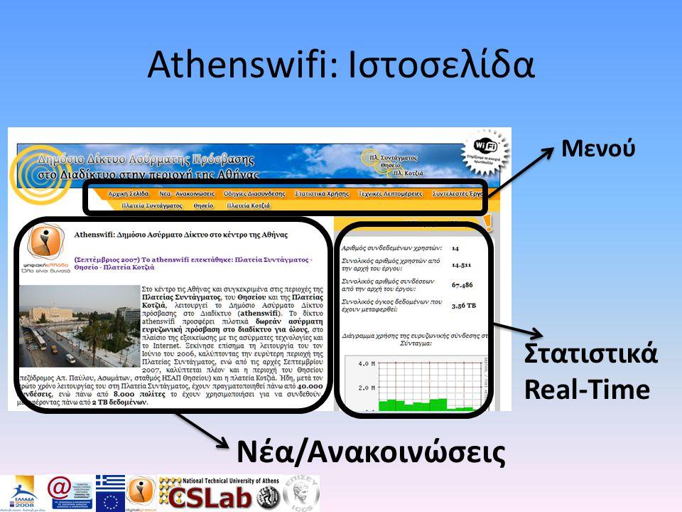 Athenswifi: Ιστοσελίδα