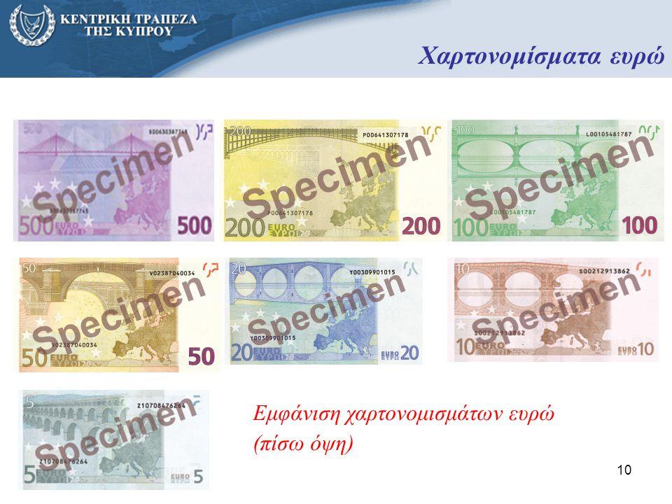 Χαρτονομίσματα ευρώ Εμφάνιση χαρτονομισμάτων ευρώ (πίσω όψη)