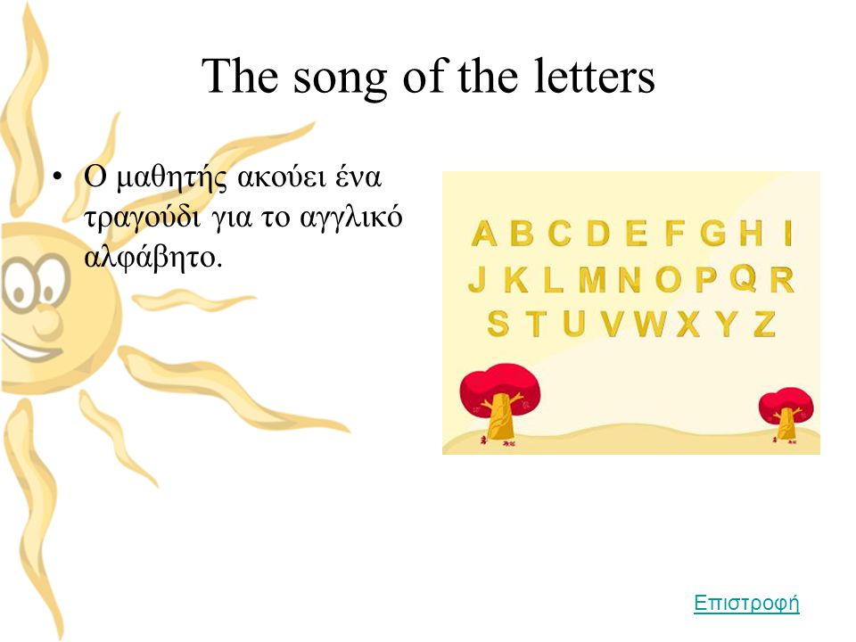 The song of the letters Ο μαθητής ακούει ένα τραγούδι για το αγγλικό αλφάβητο. Επιστροφή