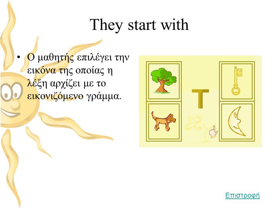 They start with Ο μαθητής επιλέγει την εικόνα της οποίας η λέξη αρχίζει με το εικονιζόμενο γράμμα.