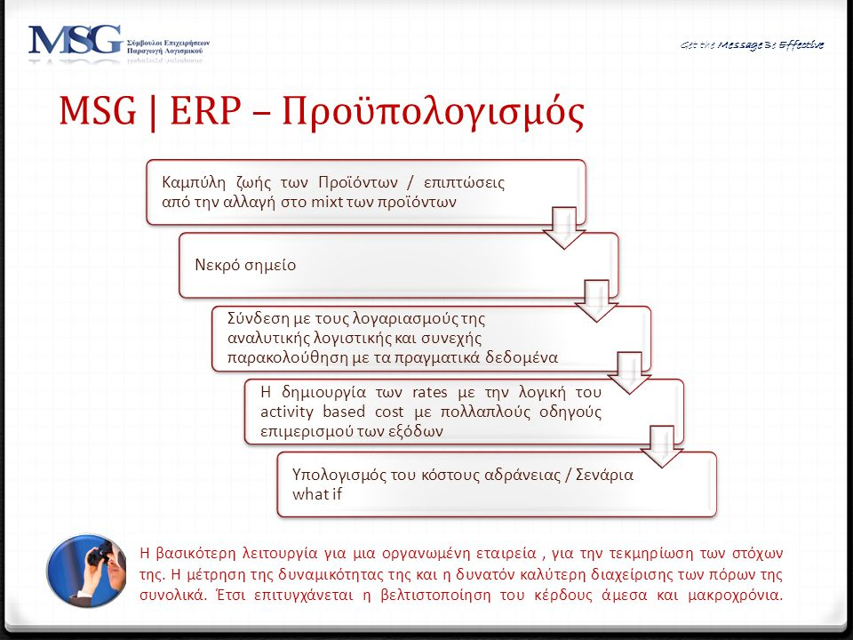 MSG | ERP – Προϋπολογισμός
