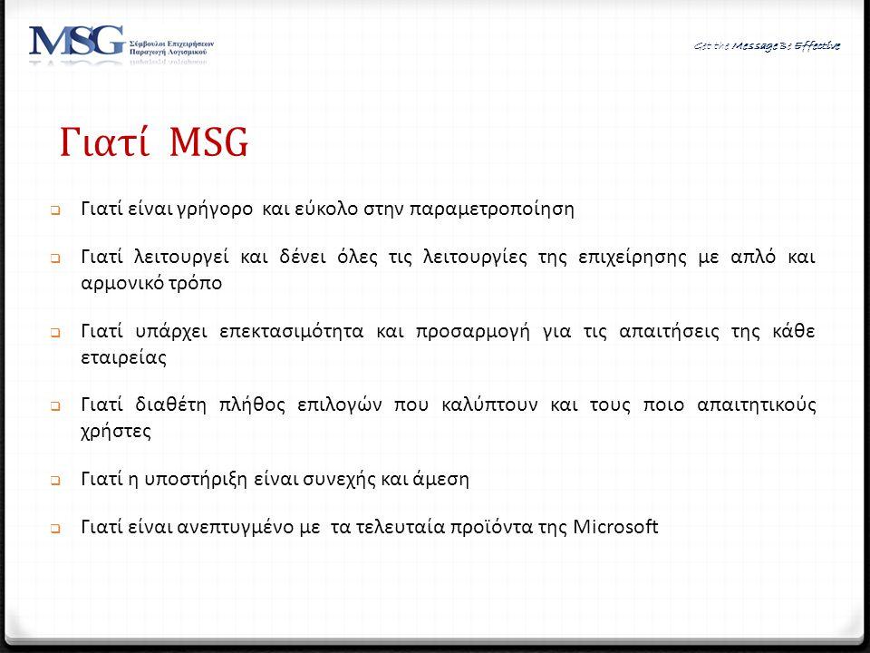 Γιατί MSG Γιατί είναι γρήγορο και εύκολο στην παραμετροποίηση
