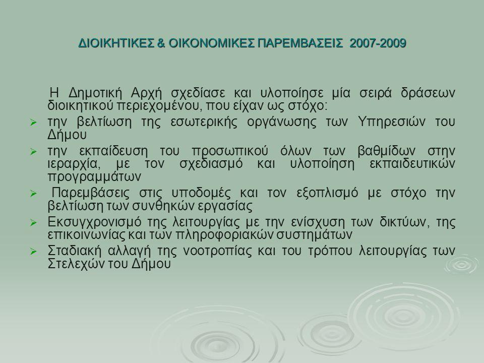 ΔΙΟΙΚΗΤΙΚΕΣ & ΟΙΚΟΝΟΜΙΚΕΣ ΠΑΡΕΜΒΑΣΕΙΣ 2007-2009