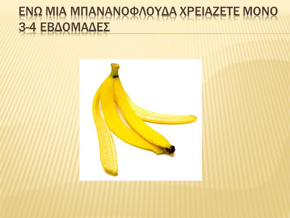 Ενω μια μπανανοφλουδα χρειαζετε μονο 3-4 εβδομαδες