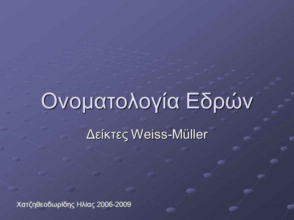Ονοματολογία Εδρών Δείκτες Weiss-Müller