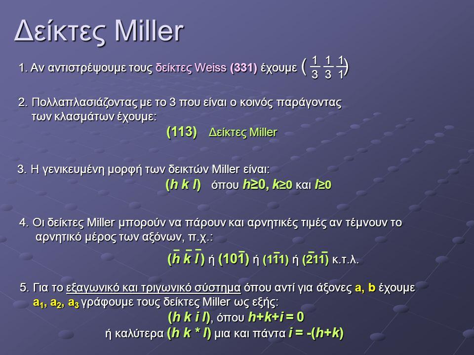 Δείκτες Miller 1. Αν αντιστρέψουμε τους δείκτες Weiss (331) έχουμε ( )