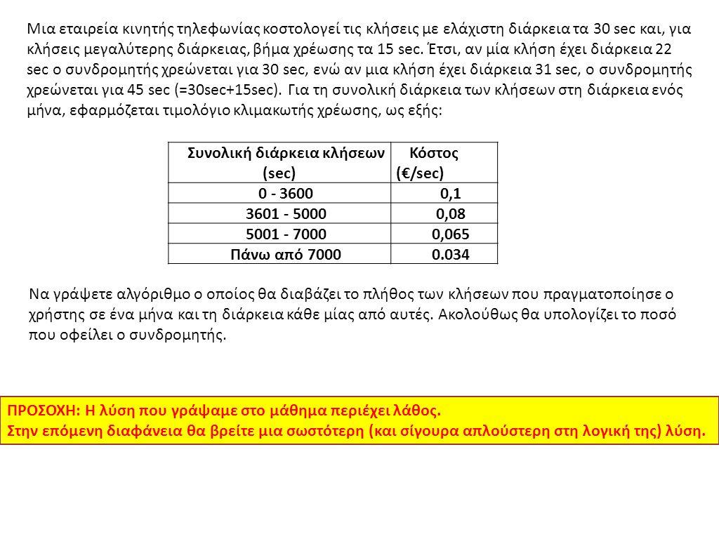 Συνολική διάρκεια κλήσεων (sec)