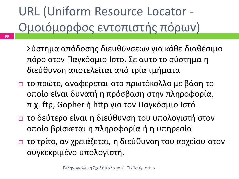 URL (Uniform Resource Locator - Ομοιόμορφος εντοπιστής πόρων)