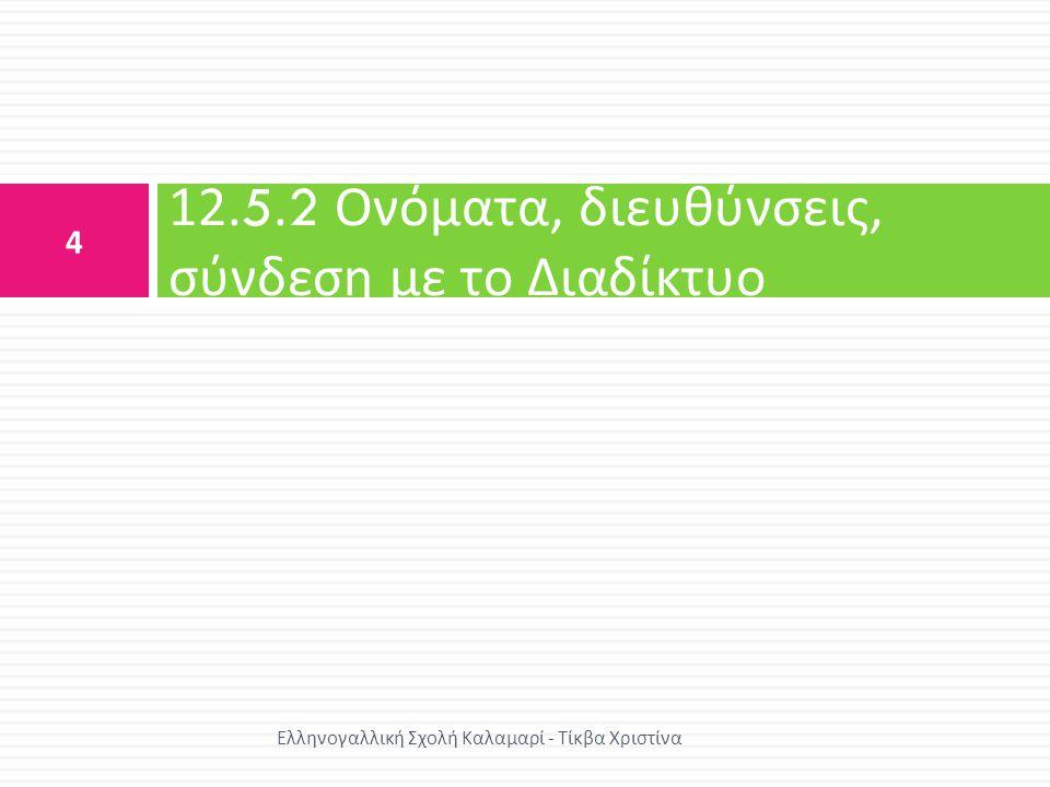 12.5.2 Ονόματα, διευθύνσεις, σύνδεση με το Διαδίκτυο