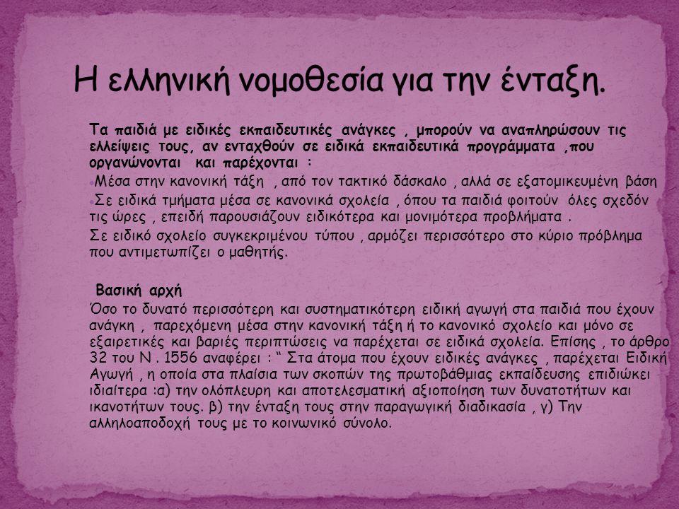 Η ελληνική νομοθεσία για την ένταξη.