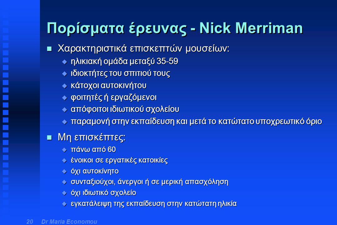 Πορίσματα έρευνας - Nick Merriman