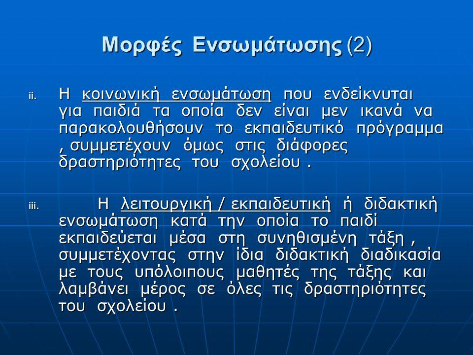 Μορφές Ενσωμάτωσης (2)